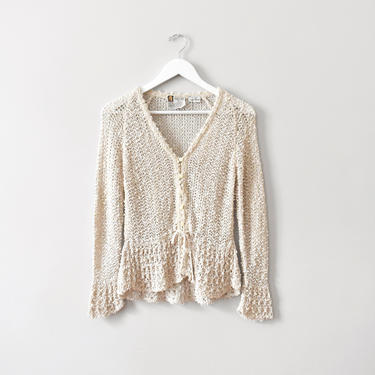 vintage linen open knit cardigan sweater, size XS / S by ImprovGoods
