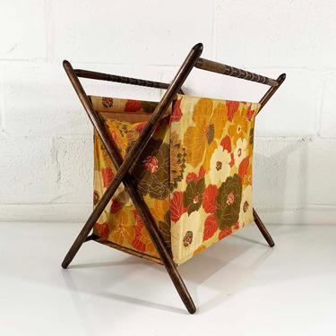 Vintage Knitting Basket Sewing Bag 1950s 1960s Fabric Crocheting Bag Rack Magazine Box Floral Autumn Orange Folding MCM Mid-Century Modern by CheckEngineVintage
