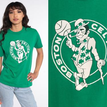 Boston Celtics Shirt Basketball T Shirt Vintage Shirt 80s TShirt Sports Shirt Vintage Graphic Tee Green Retro Small Medium by ShopExile