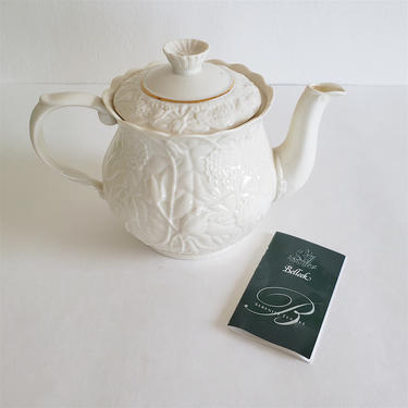 Vintage Irish Porcelain Teapot, Belleek Ireland, Ivory and Gold, Spring Flower Serenity Pattern by CivilizedCrow