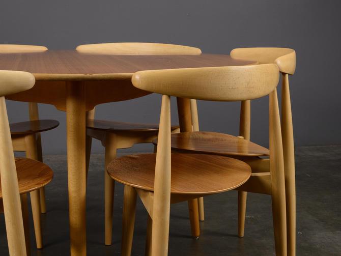 Hans Wegner Heart Set Dining Table and Six Chairs RESTORED Fritz Hansen by MadsenModern