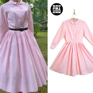 Sweet Vintage 50s 60s Pink Crepe Fit and Flare Long Sleeve Dress with Collar by RETMOD