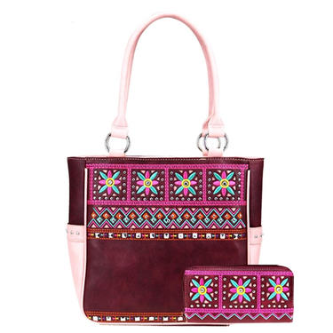 Maroon Floral Embroidered Tote and Wallet Set by American Bling by AllMyItems