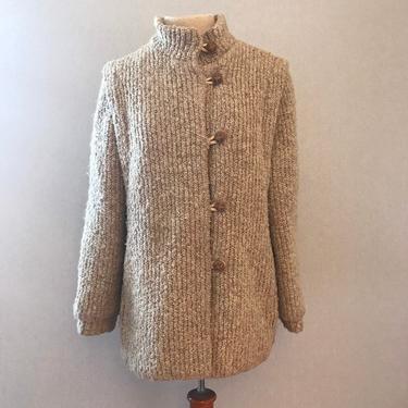 Vintage Thick Tweed Minimalist Beige Coat by citybone