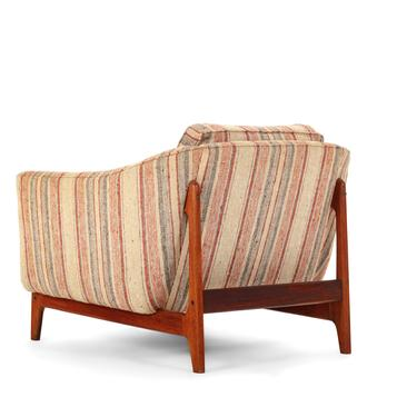Mid Century Modern Danish Lounge Chair on Walnut Base with Gorgeous Back Detail by ABTModern