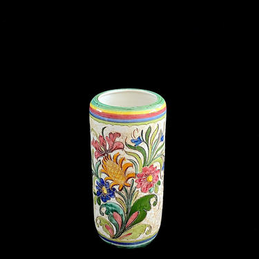 """Vintage Mid Century Modern LARGE 17 3/8"""" TALL Italian Hand Painted Pottery Umbrella Stand or Vase Italy 1960s w/ Etched Floral Spray Design by SwankyChaperooo"""
