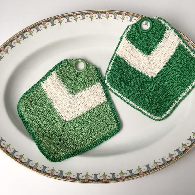 Green and cream vintage crocheted potholders - vintage kitchen by NextStageVintage