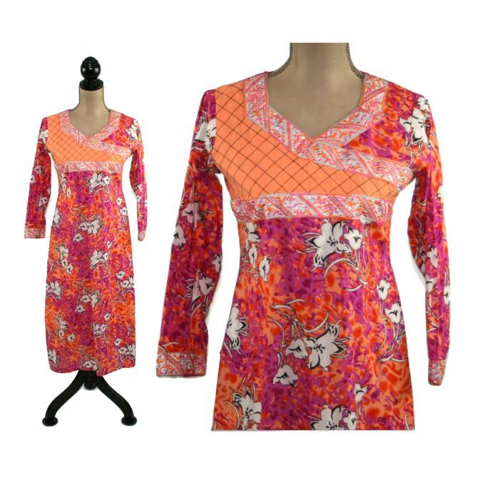 Ethnic Dress Women XS Small Cotton Kaftan Batik Long Tunic Caftan Cover Up Floral Print Hippie India Bohemian Clothes Women Vintage Clothing by MagpieandOtis