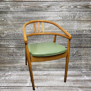 Vintage Thonet Bentwood Armchair, Danish Modern Original Childs Chair, Mint Green Padded Seat, Mid Century Modern, 1960s Vintage Furniture by AGoGoVintage