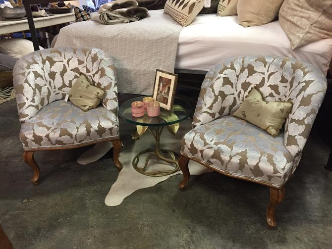 SOLD - Pair of of Vintage upholsered Slipper chairs with wood legs.