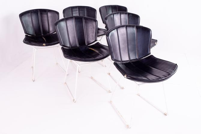 Harry Bertoia for Knoll White & Black Leather Mid Century Dining Chairs - Set of 6 - mcm by ModernHill