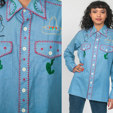 Western Cactus Shirt 70s EMBROIDERED Cowboy Southwest Desert Saguaro Button Up Top 1970s Vintage Long Sleeve Blouse Chambray Medium Large by ShopExile