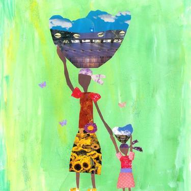 Sky Carriers. 8x10 Print. Haiti. Basket Women. Collage by Mirlande