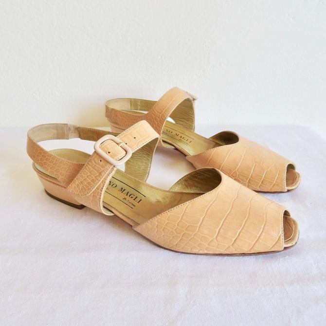 Vintage Size 7.5 Bruno Magli Tan Light Brown Leather Open Toe Sandal Shoe Spring Summer Italian Shoes Made in Italy 1990's by seekcollect