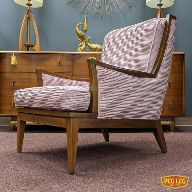 Mid-Century Modern walnut armchair with unique upholstery
