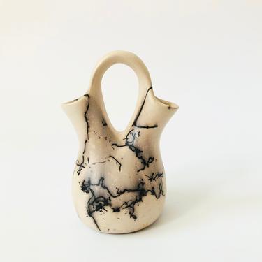 Vintage Navajo Horse Hair Pottery Wedding Vase by SergeantSailor