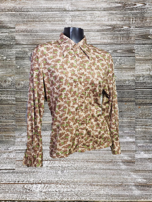 Vintage 1970's Nylon Knits for Joyce, Acorn Shirt, Hippie Boho Button Up Blouse, Fall Leaves Long Sleeve Top, Novelty Print Vintage Clothing by AGoGoVintage