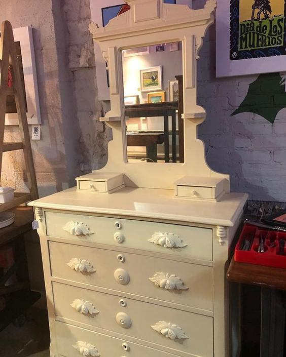 White painted cottage dresser