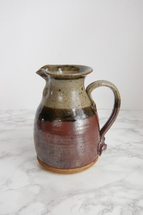 Vintage Art Pottery Pitcher - Studio Pottery - Purple Grey Glaze Pottery by PursuingVintage1