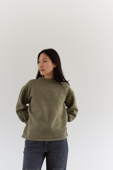 Vintage French Faded Olive Green Sweatshirt | Cozy Fleece | 70s Made in France | FS006 | S M | by RAWSONSTUDIO