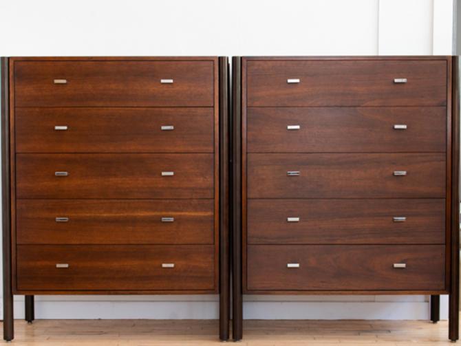 Pair of Walnut Highboy Dressers