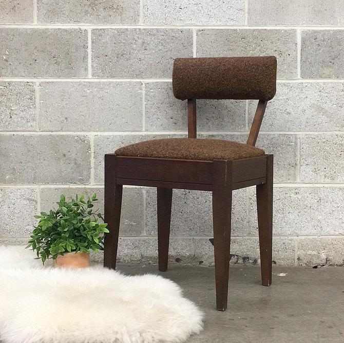 Vintage Sewing Chair Retro 1960s Mid Century Modern + Singer + Storage Seat + Brown Tweed Fabric + MCM Furniture + Home Organization by RetrospectVintage215