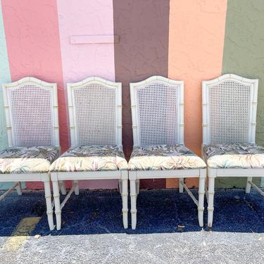 Set of Four Faux Bamboo Cane Chairs