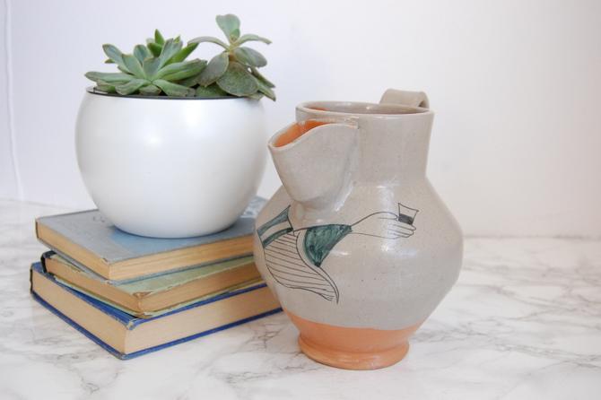 Italian Pottery Pitcher Hand Made Studio Pottery Museo del Vino Torgiano Italy by PursuingVintage1