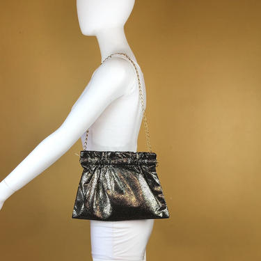 Vintage 1980s Black and Gold Soft Convertible Clutch with Chain Strap by timelesspieces