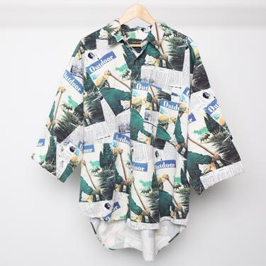 """vintage 1990s photograph COLOR block men's """"Outdoor"""" fishing kayaking all over newspaper print button down shirt -- men's size xl by CairoVintage"""