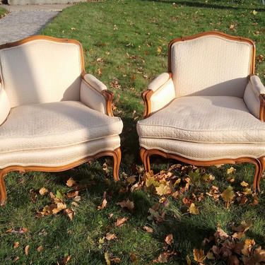 VINTAGE Louis XV Style Bergere Chairs French Country Style, Paris Bedroom Decor by 3GirlsAntiques