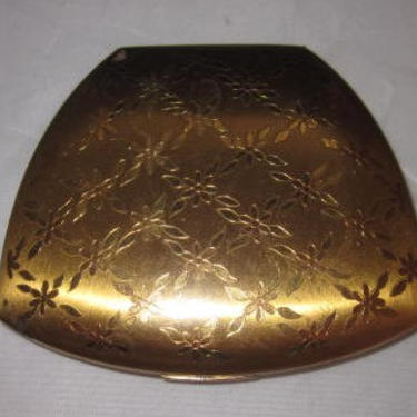 Vintage American Elgin Signed Mirrored Compact with Unique Trapezoidal Shape by LazyDogAntiqueStore
