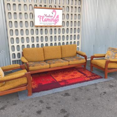 Mid Century Danish Modern Sofa And Chairs Set Teak Frames Reversible Cushions by ModernFlamingo