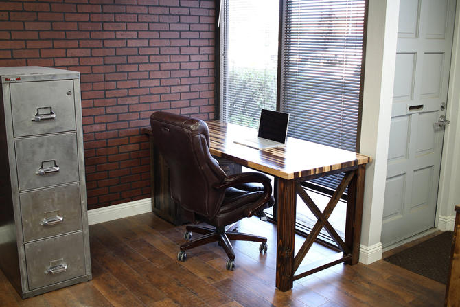 Rustic Industrial Desk w/ X legs and Cabinet / Solid Wood Butcher Block Top - All wood / industrial / rustic office furniture / unique desk by TheRusticForest