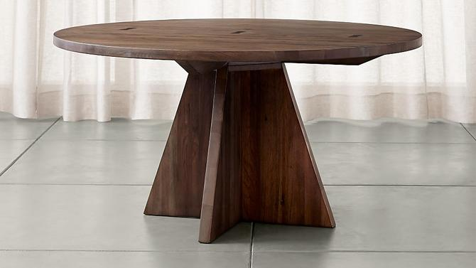 CRATE AND BARREL MONARCH  DINING TABLE IN SOLID WALNUT AND SHITAKE FINISH