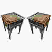 Pair of Inlay Mother of Pearl & Wood Syrian Side Tables