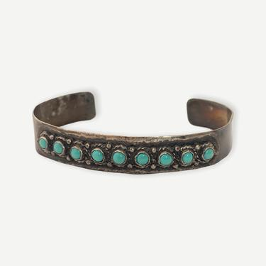 Vintage Cuernavaca TAXCO Sterling Silver & Turquoise Bracelet / Cuff ~ Signed ~ Stamped ~ Snake Eyes by SparrowsAndWolves