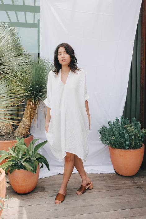 Muse Dress, Cotton Bubble Gauze in White FINAL SALE