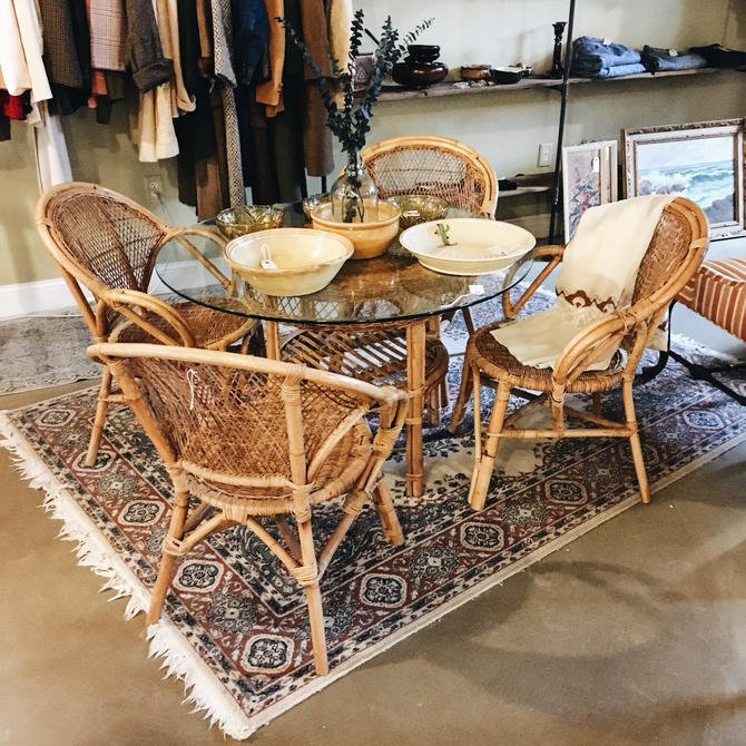 Rattan Dining Set Gl Table 4 Chairs Vintage
