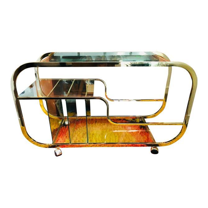 Vintage Brass Bar Cart Triple Tier