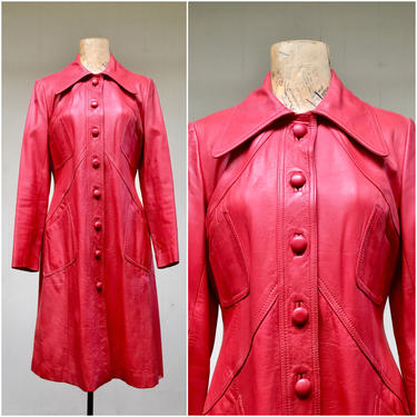 """Vintage 1960s Mod Red Leather Coat, 60s Crimson A-Line Topcoat, Mid-Century Outerwear, Made in Hong Kong, Extra Small 34"""" Bust by RanchQueenVintage"""