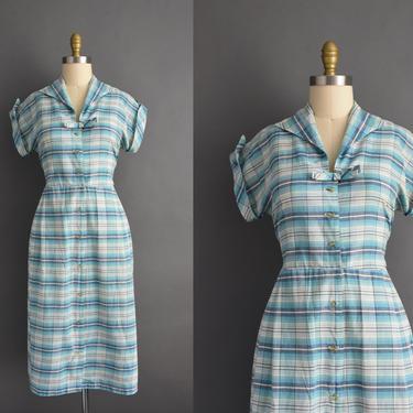 1950s vintage dress   Blue Plaid Print Short Sleeve Cotton Summer Shirt Dress   Large   50s dress by simplicityisbliss