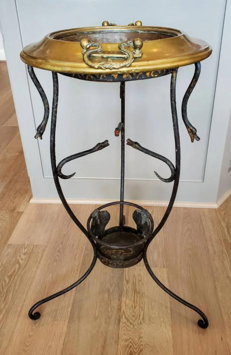 Antique Italian Wrought Iron Sculptural Serpent Snake Atheniennel Tripod with Hammered Copper & Brass Handled Brazier / Tiered Planter Stand by LynxHollowAntiques