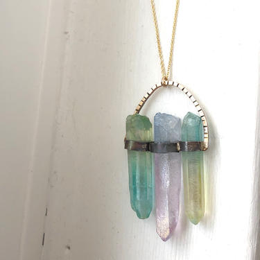 labyrinth  Pendant in Ombre Green Yellow Pink and Blue Handmade Quartz Crystal sterling silver and 14k gold filled by RachelPfefferDesigns