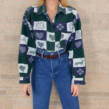 90's Quizz Plaid Hearts and Snowflakes Shirt by NoteworthyGarments