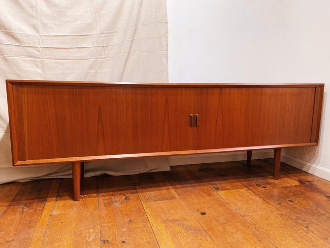 Danish Modern Teak Tambour Door Credenza by Svend A. Larsen, Danish Control, Teak Wood Credenza, Danish Credenza by VintageandSwoon