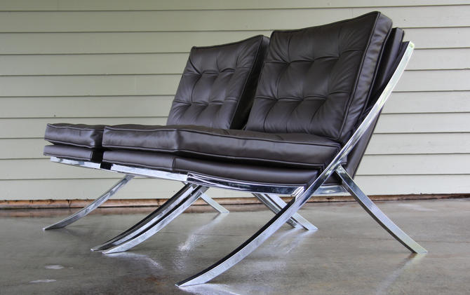 Mid Century Modern Barcelona Style Chairs by Mueller 1970 S/2 by WrightFindsinMCM