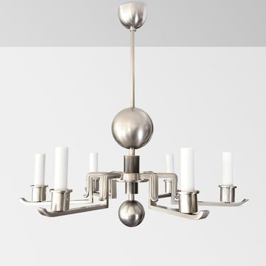 Scandinavian Modern nickel over brass 6-arm chandelier.