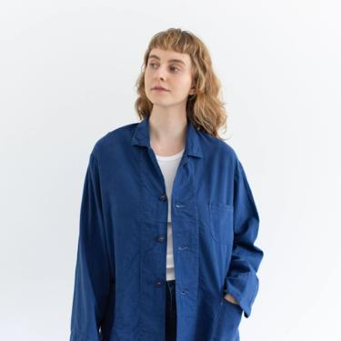 Vintage True Blue Flannel Chore Shirt Jacket   Contrast Stitch Overdye Dark Blue Cotton Blazer   L   by RAWSONSTUDIO