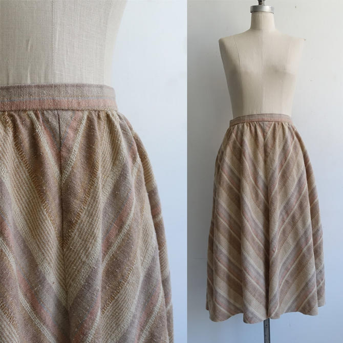 Vintage 70s Striped Midi Skirt/ 1970s Neutral Earth Tones/ Nubby Woven A Line Skirt with Pockets/ Patty Woodard/ Size 26 small by bottleofbread
